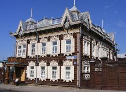 Restored old wooden house in Irkutsk, Russia